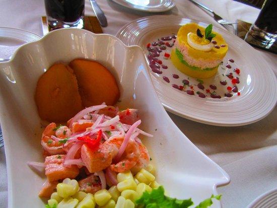 Añañau Restaurante: Ceviche de Trucha and Causa rellena de trucha!