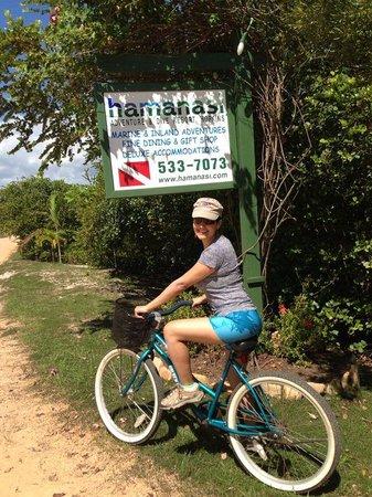 Hamanasi Adventure and Dive Resort: Biking into town.......