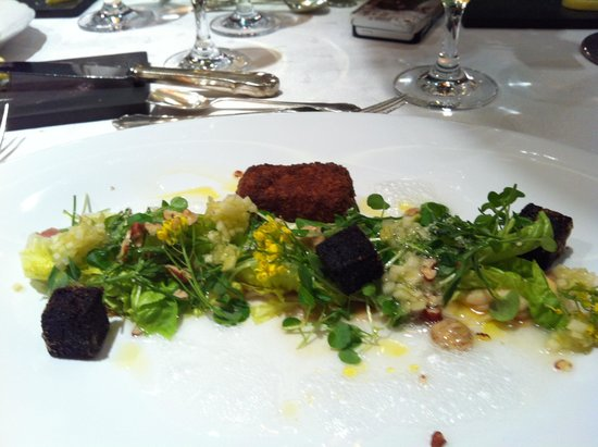 Alabardos Restaurant : Trio of mangalica pig:  ham, blood, fried pate