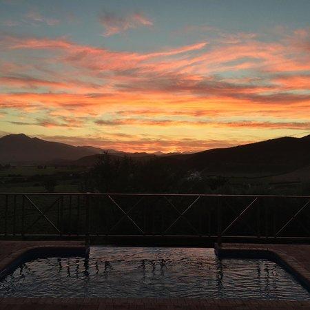 Orange Grove Farm: Sunset from the pool