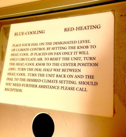 The St. Gregory Hotel: The convoluted instructions on how to adjust the room temperature