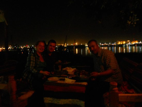 Luxor Tours - Day Tours : Ali, Joe and I having a wonderful dinner by the Nile