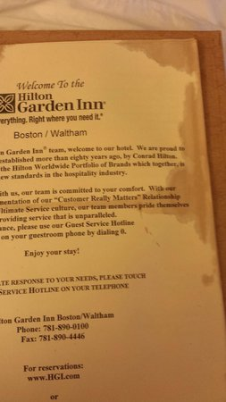 Hilton Garden Inn Boston/Waltham: coffee stained brochure