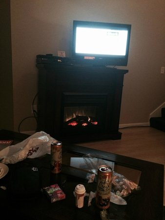 Pointes North Inn: The electric fireplace and TV downstairs