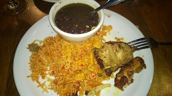 Twisted Cuban Cafe & Bar: fried beans with fried rice and fried pork