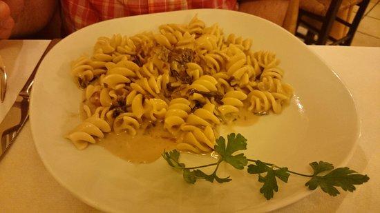 Restaurant Pizzeria Al Teatro: My friend's fusili dish with mushrooms and pancetta