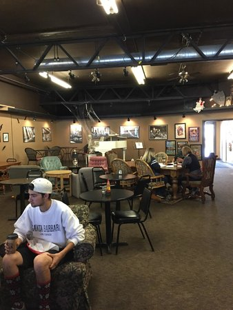 Grind Coffee House: seating and a stage in the back