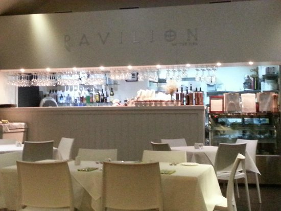 The Pavilion by the pier: Cafe interior- evening