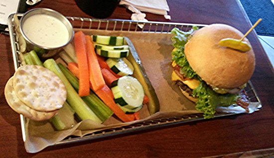 Hops Burger Bar: Bacon Burger with side of dipping veggies