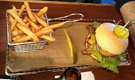 Hops Burger Bar: Bacon Burger with Basket Of Fries