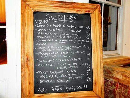 Gallery Café : Gallery Cafe Menu