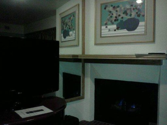 Tahoe Seasons Resort : Fireplace and flatscreen TV