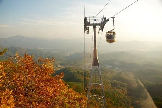 Daegu, Sydkorea: Cable car from Donghwasa