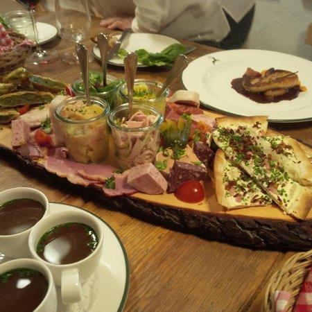 Dorfstube: Sharing platter starter, with goose liver in the background