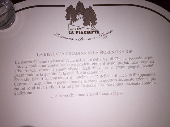 La Piazzetta : Tovaglietta del tavolo con spiegazione sulla carne Chianina