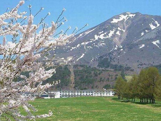 Grand Sunpia Inawashiro Resort Hotel : 春の景観、残雪の磐梯山と牧場の桜