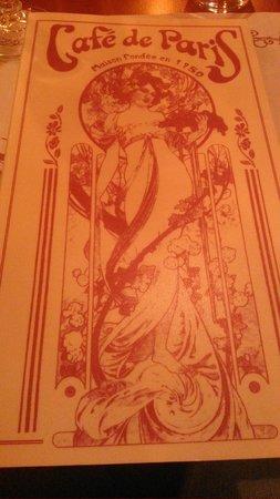 La Carte - Picture of Cafe de Paris, Bagnoles-de-l'orne