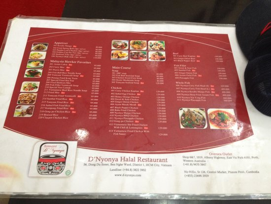 Menu Of One Halal Resto Near Mosque Picture Of Saigon Central Mosque Ho Chi Minh City Tripadvisor