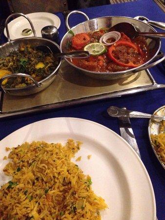 Taj Tandoori: Shashlik Khana, mushroom rice and Sag Aloo