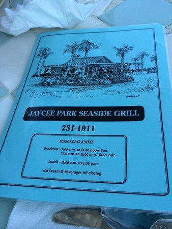 Jaycee Park Seaside Grill: Menu