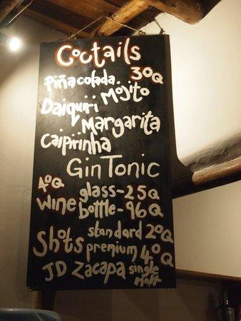 Paredon Surf House: drink menu