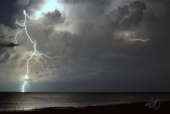 Beach In Storm Lightning: Partial Eclipse, Englewood Beach