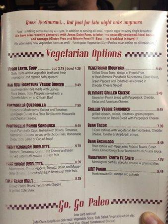 Ross' Restaurant: Very Vegetarian Friendly menu.
