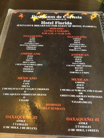 Hotel Florida: Breakfast menu