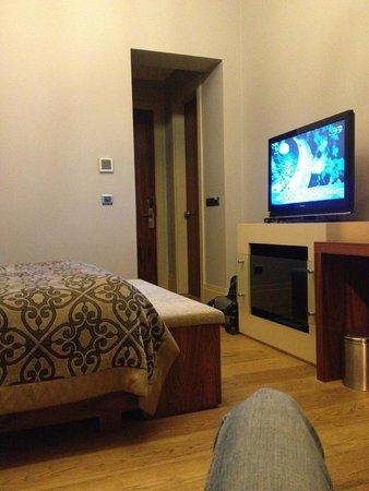 Taksim Prelude Hotel: Тв, камин
