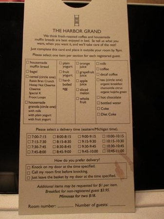 The Harbor Grand: breakfast choices in Nov 2014
