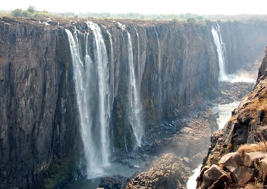 Partially Dried Up Part Of Victoria Falls Zimbabwe