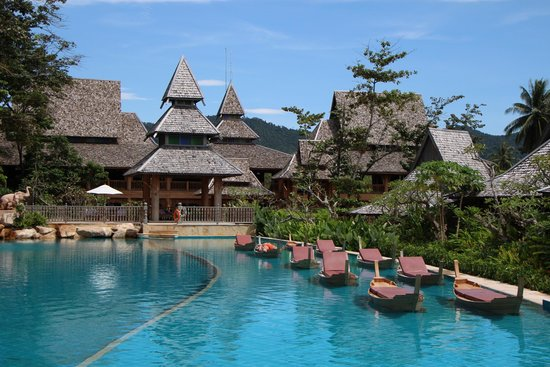 Santhiya Koh Yao Yai Resort Spa Unique Swimming Pool Design With Splashing Waterfall And