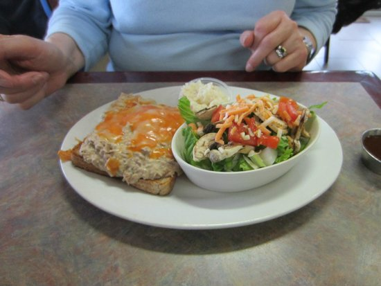 Happy Cooker Restaurant: Tuna melt with a side salad ($11.00)