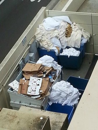 Doubletree by Hilton Torrance - South Bay: Dirty Laundry stored by recycle bin until ready to wash. View from balcony