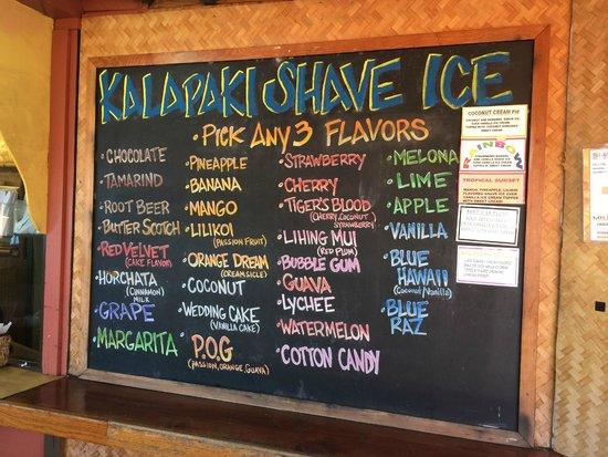 Kalapaki Beach Hut: Shave Ice Menu