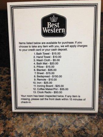 "Best Western Plus Lake Elsinore Inn & Suites: Stupid ""price list"""
