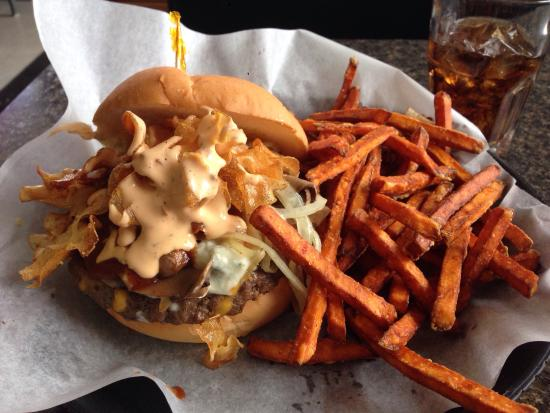 Nutz Deep II: The CHIPPER BURGER with Sweet Potato Fries
