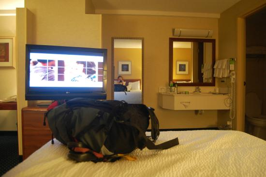 SpringHill Suites Boise ParkCenter: view from 1 bed, living area on left, bathroom on right