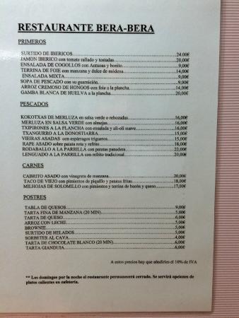Restaurante Bera Bera - hotel Palacio de Aiete : carta