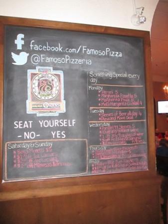 Famoso Neapolitan Pizzeria: Signage specials