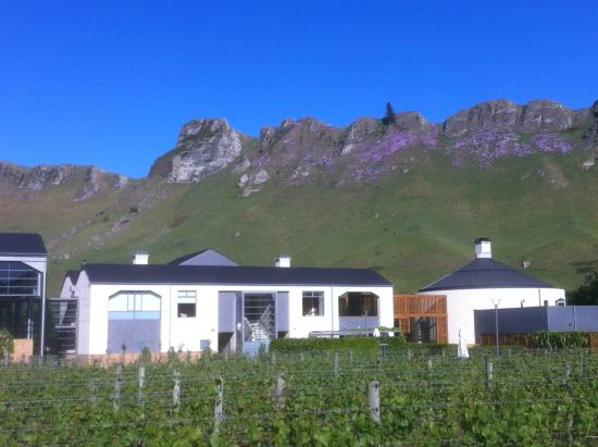 Craggy Range Vineyard Cottage: Range with winery in foreground