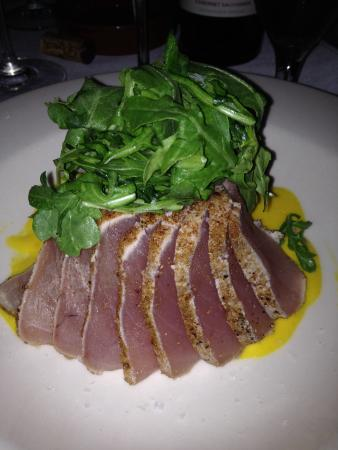 The Basin: Seared tuna with balsamic rice and roasted pistachios and tiny sprouts on top