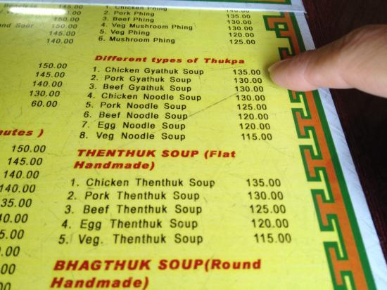 Kunga Restaurant: Menu ! Noodle soup and beef MoMo very very good