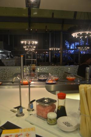 Yo! Sushi - Harvey Nichols: Our table & the passing dishes