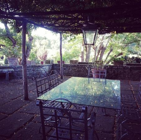 Relais Villa Rossi Danielli c Estate of Ferento: Il tavolo da pranzo sotto al portico di glicine