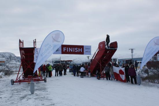 Polar Marathon finish line at Polar Lodge