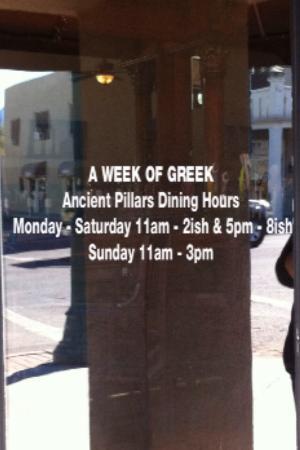 Ancient Pillars Greek Restaurant: Hours