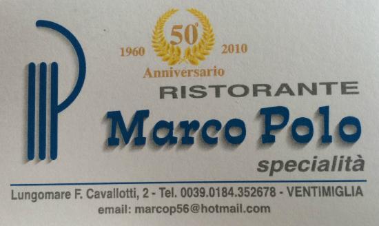 Ristorante Marco Polo La Carte De Visite