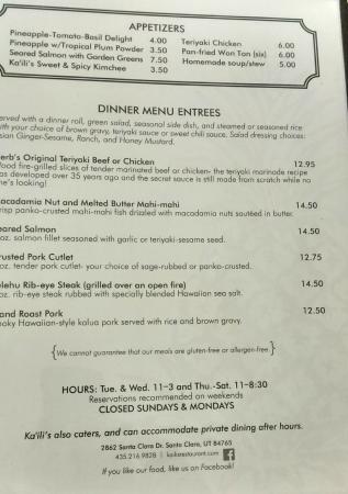 Ka'ili's: Menu -- Appetizers and Dinner