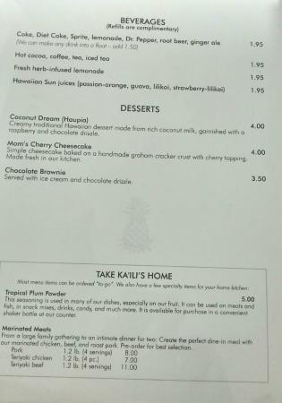 Menu -- Beverages, Desserts, and Take Ka'ili's Home